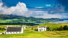 Sunny day in the Staffin town , Skye Island, Scotland, 4k, Timelapse Stock Footage