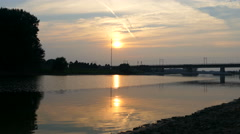Sunset at the IJssel river in Deventer Stock Footage
