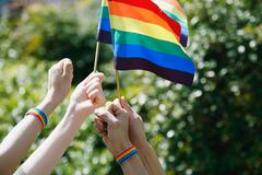 People with rainbow flags Stock Photos