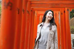 Young attractive Japanese woman at the temple Stock Photos