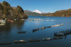 View of Mount Fuji from Lake Ashi in the morning, Hakone, Japan Stock Photos