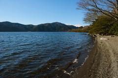Lake Ashi in the Winter morning, Hakone, Japan Stock Photos