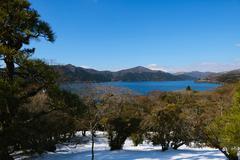 View of Mount Fuji from Lake Ashi in the Winter morning, Hakone, Japan Stock Photos