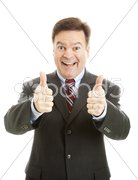 Enthusiastic Businessman Two Thumbs Up Stock Photos