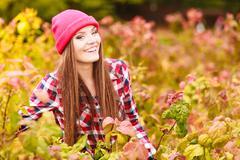 Portrait girl relaxing walking in autumnal park. Stock Photos