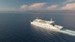 Aerial view of floating ferry boat - Jadrolinia, Croatia Stock Footage