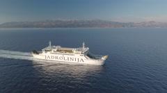 Aerial view of cruising ferry boat - Jadrolinia, Croatia Stock Footage