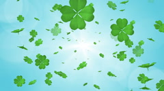 Blowing Clovers - Blue background Stock Footage