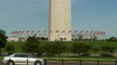 Washington Monument base flags Stock Footage