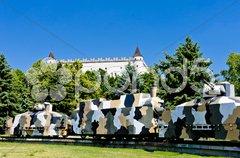 Zvolen Castle and armored train, Slovakia Stock Photos
