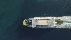 Aerial view of ferry boat on the sea - Jadrolinia, Croatia Stock Footage