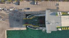 Aerial view of ferry boat on the port - Jadrolinia, Supetar, Brac, Croatia Stock Footage