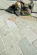 Bronze sculpture called man at work, Bratislava, Slovakia Stock Photos