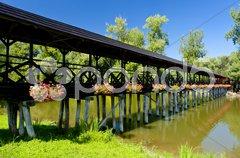 Covered wooden bridge, Kolarovo, Slovakia Stock Photos