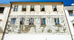 Detail of renaissance house, Znojmo, Czech Republic Stock Photos