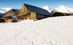 Zdiar and Belianske Tatry (Belianske Tatras) in winter, Slovakia Stock Photos