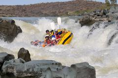 Negotiating Hell's Gate in the Gariep River (Orange River), South Africa Stock Photos