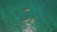 Aerial view of ocean kayakers - kayak on the sea Stock Footage
