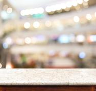 Empty marble table and blur store in background. product display template Stock Photos