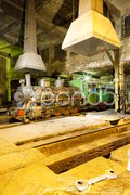 Steam locomotive in depot at night, Kostolac, Serbia Stock Photos