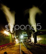 Steam locomotives in depot at night, Kostolac, Serbia Stock Photos