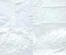Collection of white wrinkle paper, texture background,four style of crumple p Stock Photos