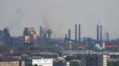 View of  Nizhny Tagil industrial landscape of smoke factory chimneys Stock Footage