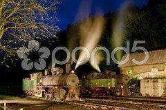 Steam locomotives at night, Oskova, Bosnia and Hercegovina Stock Photos