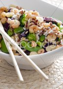 Wild rice with vegetables and prawns Stock Photos