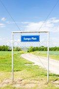 Europa Platz, border between Czech Republic and Austria Stock Photos