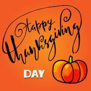 Handwritten Thanksgiving Day lettering. Vector illustration. Thanksgiving Day Stock Illustration