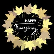 Happy Thanksgiving with text greeting and autumn leaves frame. Vector Stock Illustration