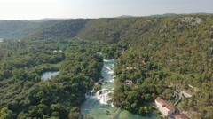 Aerial view of waterfall in a canyon - Krka waterfall, Skradinski buk, Croatia Stock Footage