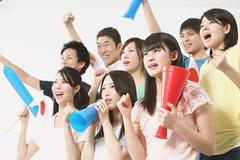 Group of Japanese supporters Stock Photos
