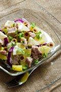 Potato salad with tuna fish Stock Photos