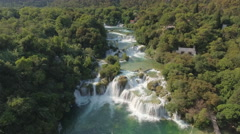 Aerial view of waterfall in a canyon - Krka waterfall, Skradinski buk, Croatia Stock Footage