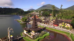 Aerial View of Pura Ulun Danu Beratan Temple in Bedugul, Bali, Indonesia Stock Footage