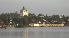 Alexander Nevsky Church and pond in Nizhny Tagil Stock Footage