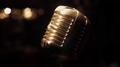 Concert metal gleam microphone stand on stage in empty retro bar. Spotlights Stock Footage
