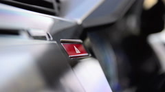 Close up hand of man pushing emergency light button shallow depth of field Stock Footage