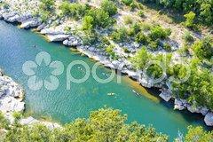Kayaks in Ardeche Gorge, Rhone-Alpes, France Stock Photos