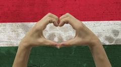 Hands Heart Symbol Hungary Flag Stock Photos