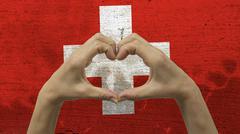 Hands Heart Symbol Switzerland Flag Stock Photos