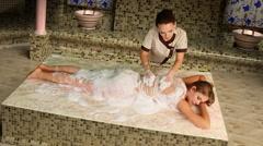 Turkish massage in hammam. Stock Footage