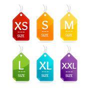 Size Clothing Labels Set. Vector Stock Illustration