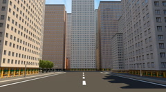 Trail view through the city. 3D render animation. Seamless loop. Stock Footage