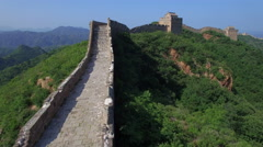 AERIAL FLYING OVER THE GREAT WALL OF CHINA Stock Footage