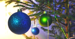 Blue christmas ball on new year tree Stock Footage