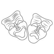 Theatrical masks isolated on white. Vector Stock Illustration