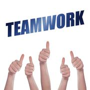 Thumbs up for Teamwork concept Stock Photos